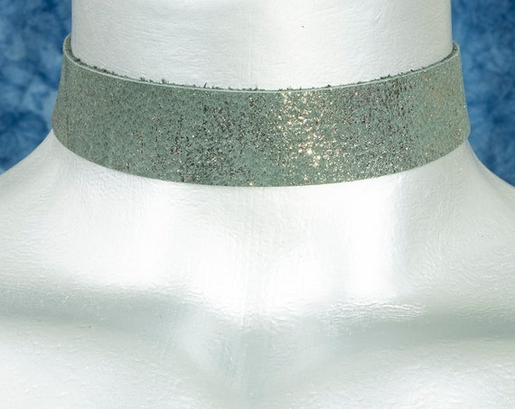 Dissipating Metallic Gray Suede Leather Choker Necklace