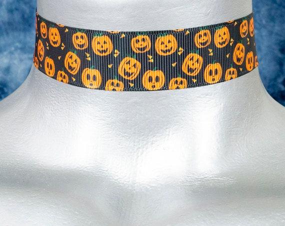 Black with Orange Pumpkins Halloween Choker Necklace