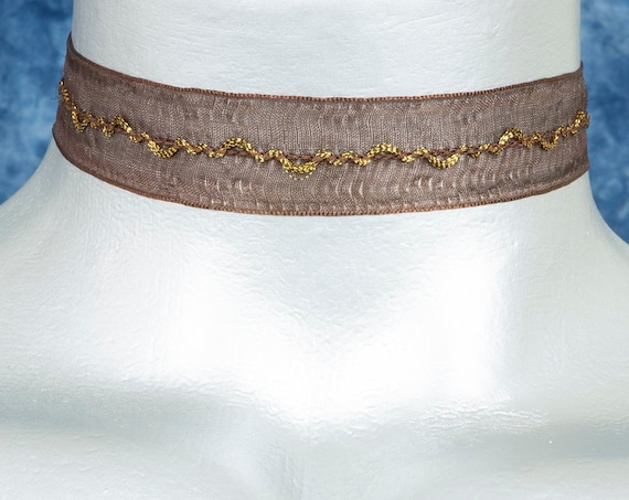 Copper and Brown Organza Ribbon Choker Necklace
