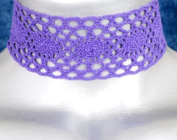 Wide Purple Boho Cluny Lace Choker Necklace