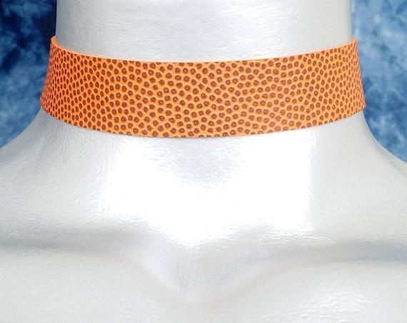 Orange Basketball Vinyl Choker Necklace