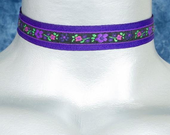 Violet Purple Floral Ribbon Choker Necklace