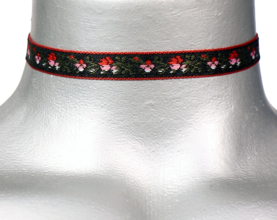 Thin Black Embroidered Rose Ribbon Choker Necklace