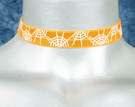 Orange with White Spiderwebs Stretchy Elastic Halloween Choker Necklace