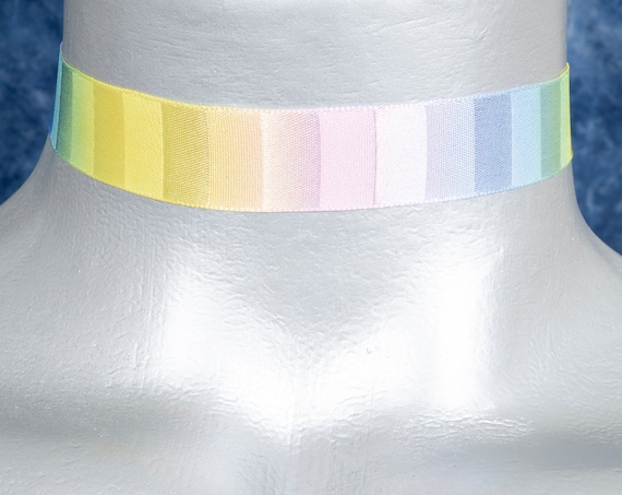 Pastel Rainbow Satin Ribbon Choker Necklace