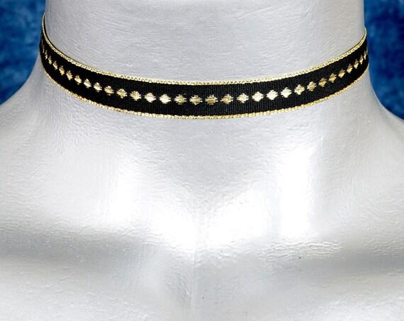 Thin Metallic Gold Diamond Black Satin Ribbon Choker Necklace