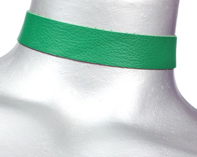 "Green Leather Choker - Plain and Simple - 3/4"" or 20mm - Adjustable"