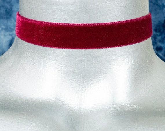 Dark Red Maroon Velvet Ribbon Choker Necklace (16mm)