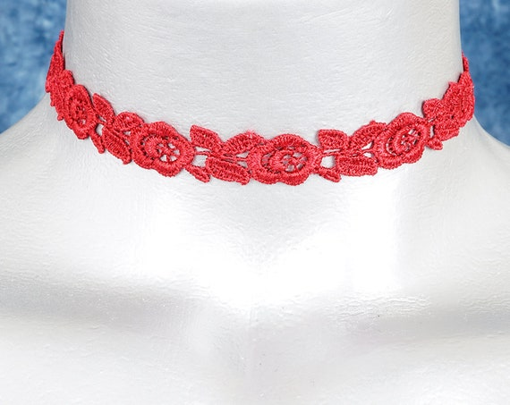 Thin Formal Red Rose Lace Choker Necklace