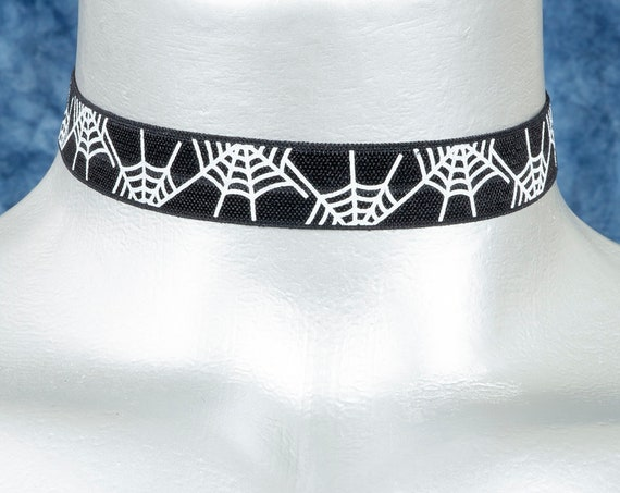 Black with White Spiderwebs Stretchy Elastic Halloween Choker Necklace
