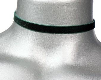 Thin Dark Hunter Green Velvet Ribbon Choker Necklace (10mm)