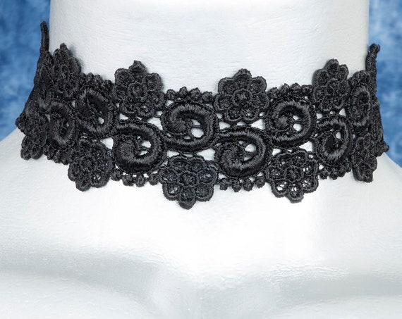 Black Floral Curl Venice Lace Choker Necklace