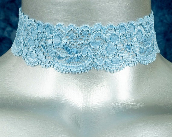 Light Blue Floral Elastic Stretch Lace Choker Necklace