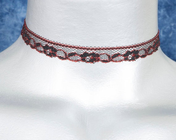 Thin Black and Red Scalloped Floral Lace Choker Necklace