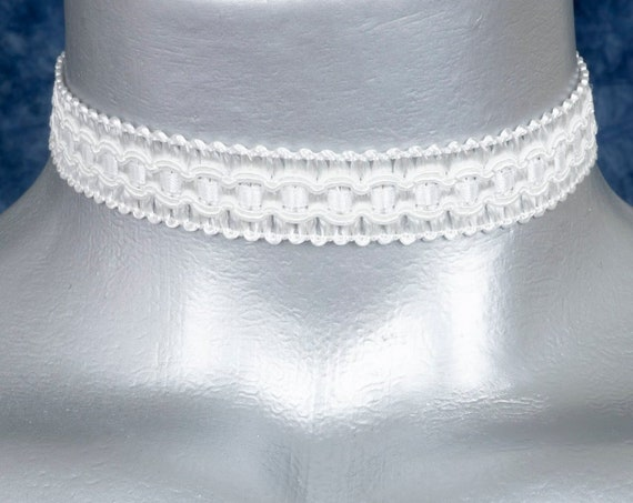 White Regal Satiny Formal Trim Choker Necklace