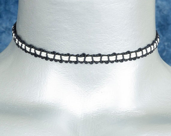 Thin Black and White Soutache Choker Necklace
