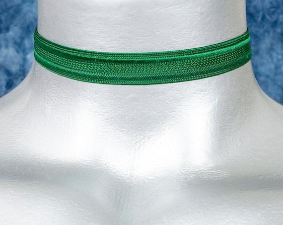 Thin Green Satiny Trim Ribbon Choker Necklace