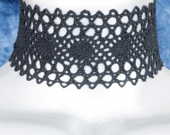 Wide Black Oval Cluny Lace Choker Necklace