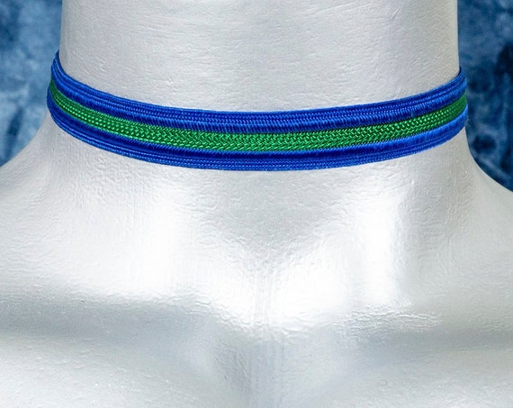 Thin Blue and Green Striped Satiny Trim Ribbon Choker Necklace