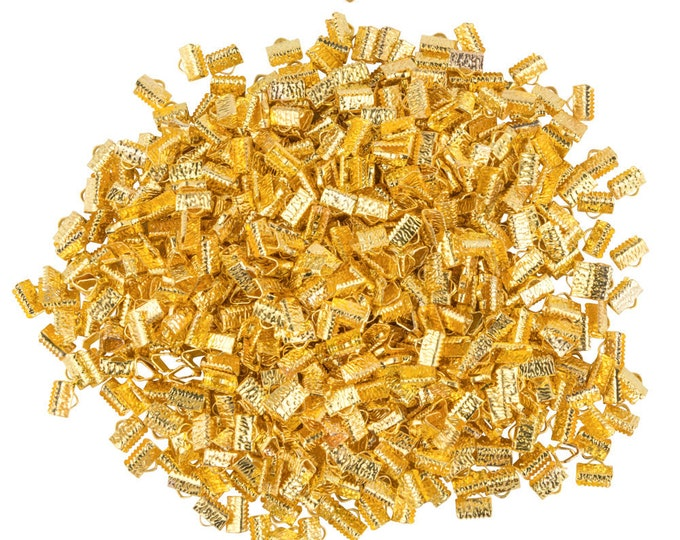 10mm or 3/8 inch Gold Ribbon Clamp End Crimps - with or without loop - Artisan Series - 500 pieces