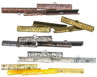 38mm or 1 1/2 inch Ribbon Clamps End Crimps with OR without Loop - 20 pieces in Mixed Finishes - Artisan Series