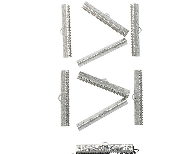 50 pieces  40mm  ( 1 9/16 inch ) Platinum Silver Ribbon Clamp End Crimps - Artisan Series