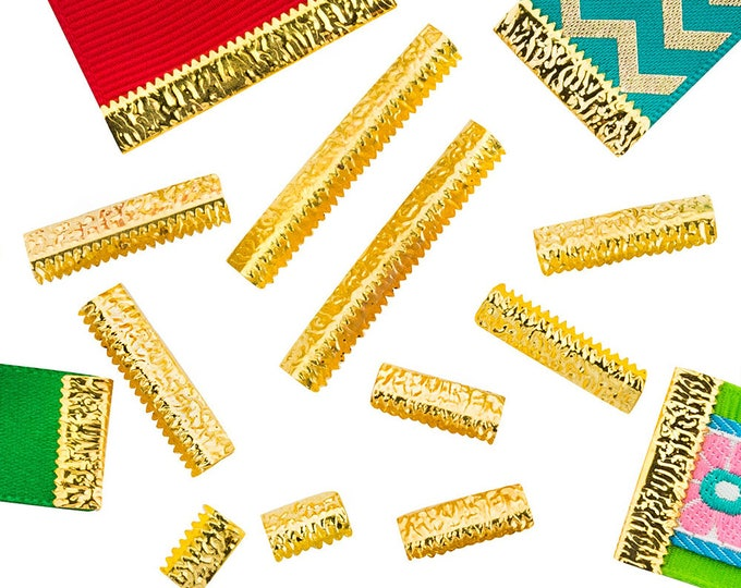 No Loop Ribbon Clamp Crimp Ends - Gold - Assorted Sizes - Artisan Series