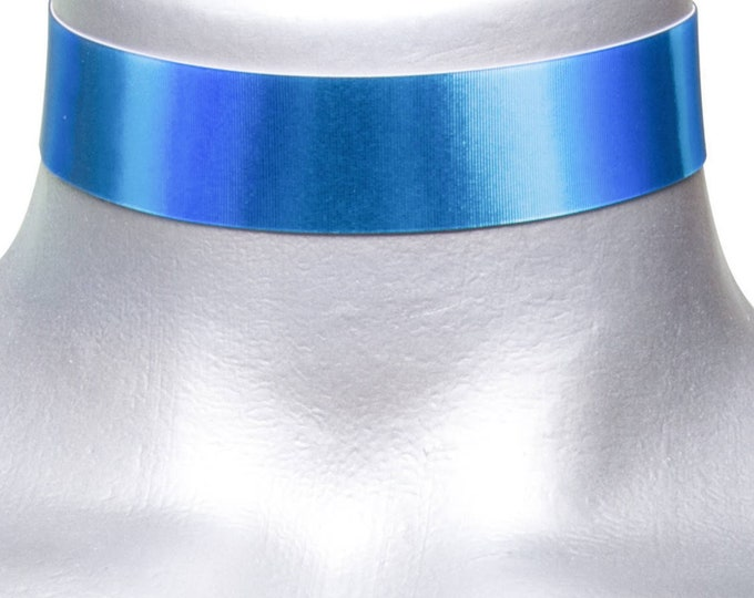 Blue Holographic Lenticular Metallic Choker Necklace