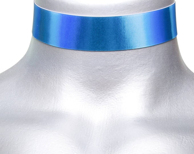 Blue Holographic Metallic Reflective Lenticular Electric Royal Blue Color Changing Choker Necklace