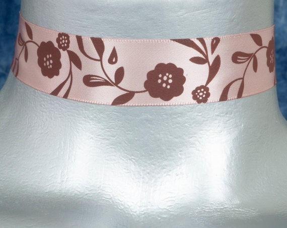 Light Pink Floral Satin Ribbon Choker Necklace