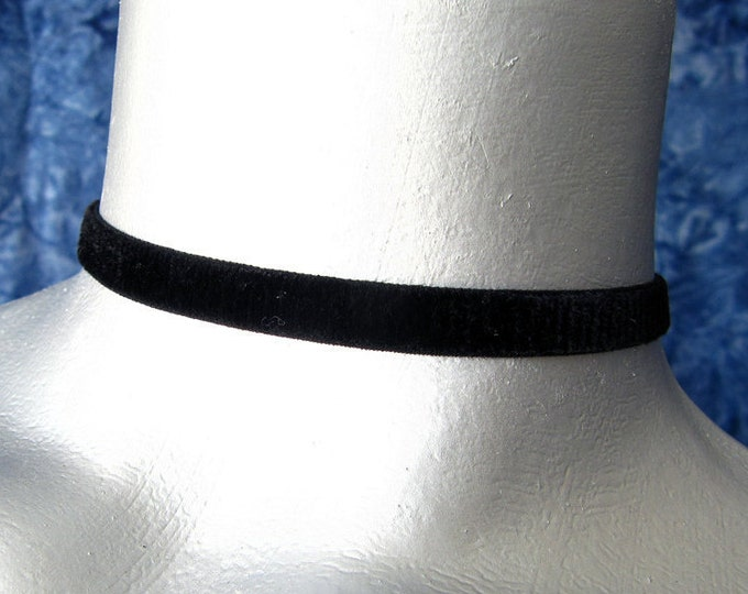 "Plain Black Velvet Ribbon Choker Necklace - 10mm or 3/8"" wide - Adjustable Length"