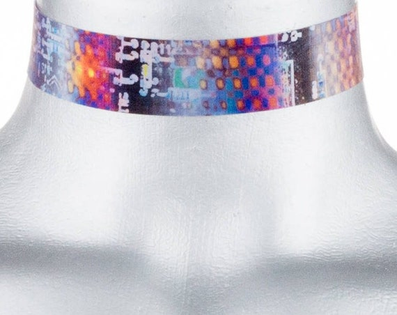 Robot Circuit Board 3D Color-Changing Holographic Choker Necklace