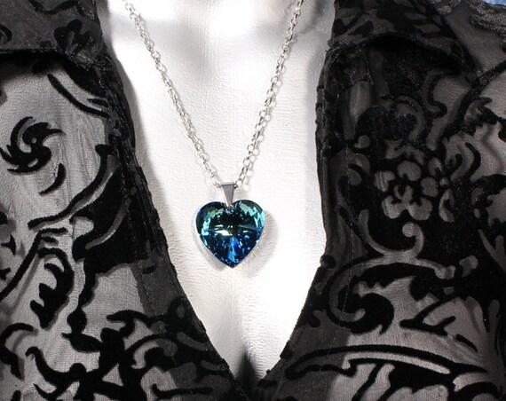 Bermuda Blue Swarovski Crystal Heart Pendant Necklace (28mm)