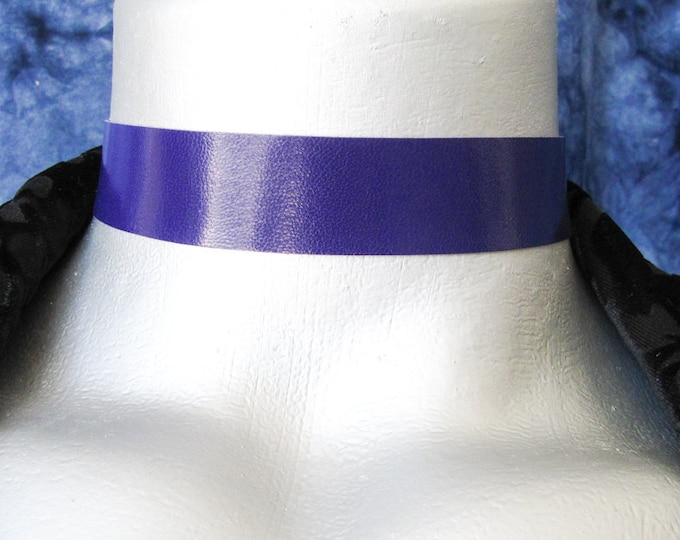 Violet Purple Leather Choker Necklace