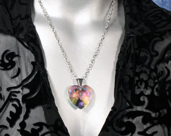 Multi Paradise Shine Swarovski Crystal Heart Pendant Necklace (28mm)