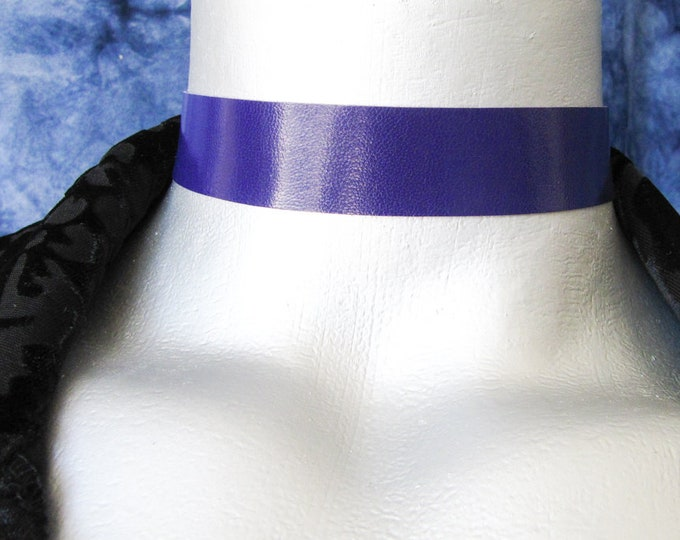 "Violet Purple Leather Choker - Plain and Simple - Adjustable Length - 20mm (3/4"" wide)"