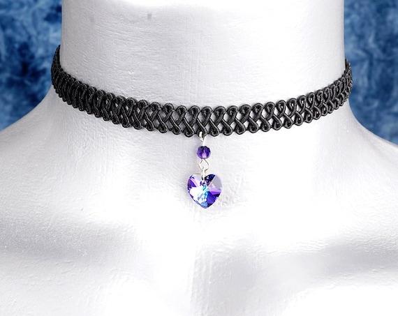 Heliotrope Purple Swarovski Crystal Heart Pendant Choker Necklace