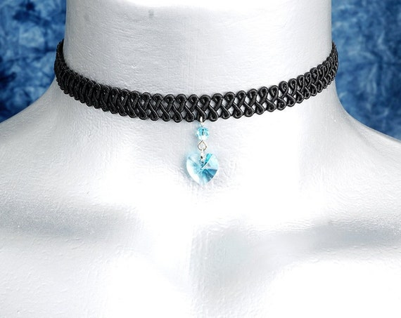 Aquamarine Light Blue Swarovski Crystal Heart Pendant Choker Necklace