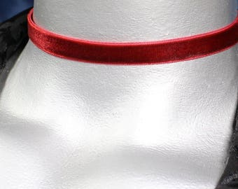 Thin Dark Red Burgundy Velvet Ribbon Choker Necklace (10mm)