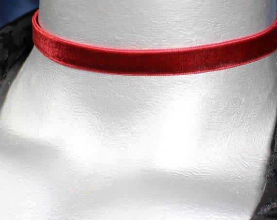 Thin Dark Red Burgundy Velvet Ribbon Choker Necklace (10mm)