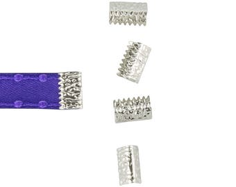 10mm or 3/8 inch Platinum Silver NO LOOP Ribbon Clamp End Crimps - Artisan Series (16 pieces)