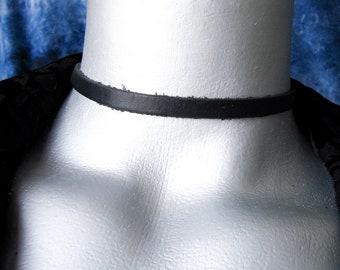 Thin Plain Black Leather Choker - 6mm wide - Adjustable Length