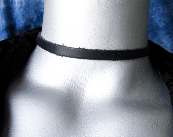 Thin Black Leather Choker Necklace (6mm)