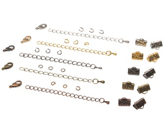 10mm (3/8 inch) Ribbon Choker Findings Kit in Antique Bronze, Gold, Platinum Silver, Gunmetal, Antique Copper, Mixed - Artisan & Dots Series