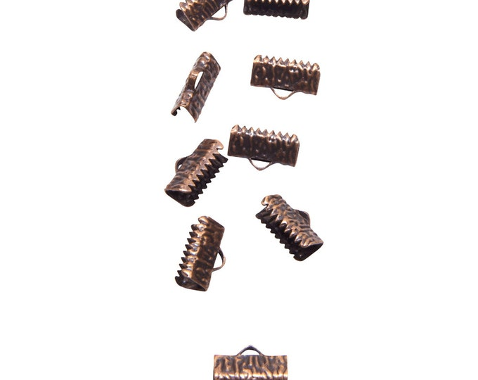 50 pieces  13mm  (1/2 inch)  Antique Copper Ribbon Clamp End Crimps - Artisan Series