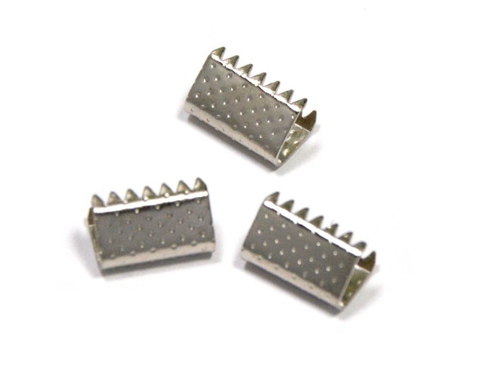 20 pieces 10mm (3/8 inch) Platinum Silver No Loop Ribbon Clamps Dots Series