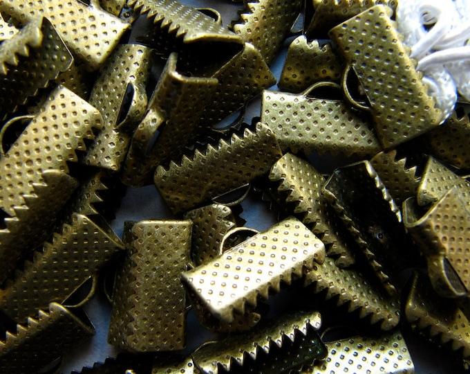 144 pieces 13mm or 1/2 inch Antique Bronze Ribbon Clamp End Crimps