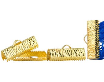 20mm or 3/4 inch Gold Ribbon Clamps Ends Crimps with Loop - Artisan Series - 150 pieces