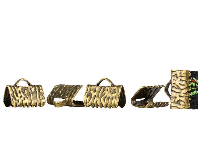 10mm or 3/8 inch Antique Bronze Ribbon Clamps End Crimps - with or without loop - Artisan Series  (500 pieces)