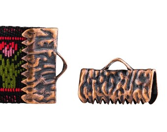 16 pieces  13mm  (1/2 inch)  Antique Copper Ribbon Clamp End Crimps- Artisan Series